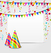Illustration Celebration Card With Party Hats, Confetti And Hanging Flags - Vector stock illustration