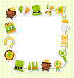 Illustration Celebration Card With Traditional Symbols For St. Patricks Day, Collection Colorful Icons In Flat Style - Vector