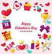 Illustration Celebration Card For Valentine's Day. Flat Valentine Icons, Heart With Crown, Gift Box, Candles, Sweet Cupcake - Vector