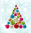 Illustration Christmas Abstract Tree Made In Colorful Balls, Snowing Background - Vector