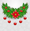 Illustration Christmas Adornment With Balls, Holly Berry, Pine And Poinsettia - Vector stock illustration