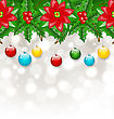 Illustration Christmas Background With Balls, Holly Berry, Pine And Poinsettia - Vector stock vector