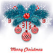 Illustration Christmas Background With Fir Branches, Glass Balls And Sweet Canes - Vector
