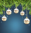 Illustration Christmas Background With Fir Twigs And Glass Balls, Holiday Wallpaper - Vector