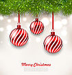 Illustration Christmas Background With Glass Hanging Balls And Fir Twigs - Vector