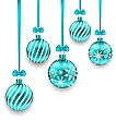 Illustration Christmas Background With Turquoise Glassy Balls Isolated On White Background - Vector
