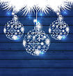 Illustration Christmas Balls Made In Snowflakes On Blue Wooden Background - Vector