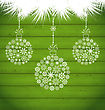 Illustration Christmas Balls Made In Snowflakes On Green Wooden Texture - Vector