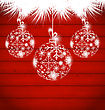 Illustration Christmas Balls Made In Snowflakes On Wooden Background - Vector