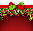 Illustration Christmas Banner With Bow Ribbon, Fir Twigs, Glass Balls, Copy Space For Your Text - Vector