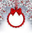 Illustration Christmas Banner With Silver Fir Twigs And Card With Red Silk Ribbon And Bow, Copy Space For Your Text - Vector