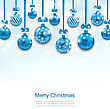 Illustration Christmas Blue Glassy Balls With Bow Ribbon, Shimmering Light Background - Vector