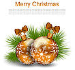Illustration Christmas Card With Glass Balls And Fir Twigs On White Background - Vector stock vector