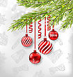 Illustration Christmas Celebration Background With Hanging Glass Balls And Adornment - Vector