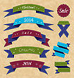 Illustration Christmas Collection Variation Labels And Ribbons - Vector