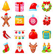 Illustration Christmas Colorful Traditional Symbols, Simple Style - Vector