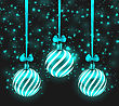 Illustration Christmas Dark Shimmering Background With Turquoise Glassy Balls - Vector