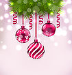 Illustration Christmas Fir Branches And Glass Balls, Copy Space For Your Text - Vector