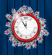 Illustration Christmas Fir Twigs With Clock For 2017 New Year, Decoration On Blue Wooden Background - Vector