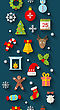 Illustration Christmas Flat Icons With Long Shadows, Seamless Wallpaper - Vector