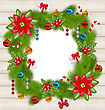 Illustration Christmas Frame With Traditional Elements On Wooden Background - Vector stock vector