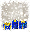 Illustration Christmas Gift Boxes On Glowing Background - Vector