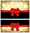 Illustration Christmas Glossy Cards With Gift Bows And Roses - Vector