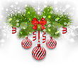 Illustration Christmas Glowing Background With Fir Branches, Glass Balls, Ribbon Bow, Streamer - Vector