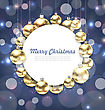 Illustration Christmas Golden Glowing Balls With Greeting Card - Vector
