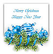 Illustration Christmas And Happy New Year Card With Blue Balls On White Background - Vector