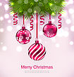 Illustration Christmas Invitation With Fir Twigs And Glass Balls - Vector