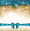 Illustration Christmas Light Background With Realistic Fir Twigs, Balls, Ribbon Bow - Vector