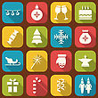 Illustration Christmas Party Simple Icons, Long Shadows Style - Vector