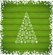 Illustration Christmas Pine And Border Made Of Snowflakes On Green Wooden Background - Vector