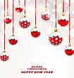 Illustration Christmas Red Glassy Balls On Shimmering Light Background, Happy New Year Banner - Vector