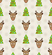 Illustration Christmas Seamless Pattern With Deers Fir Trees And Snowflakes, Holiday Wallpaper - Vector