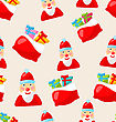 Illustration Christmas Seamless Texture With Santa Claus And Bag Of Gifts - Vector