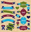 Illustration Christmas Set Geometric Labels And Ribbons - Vector