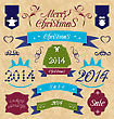 Illustration Christmas Set - Labels, Ribbons And Other Decorative Elements - Vector
