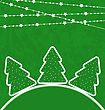 Illustration Christmas Set Trees With Garland - Vector