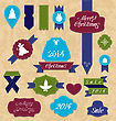 Illustration Christmas Set Variation Labels And Ribbons - Vector