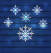 Illustration Christmas Set Variation Snowflakes On Wooden Background - Vector