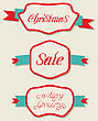 Illustration Christmas Set Variation Vintage Labels With Text - Vector