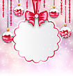 Illustration Christmas Silver Glassy Balls With Clean Card With Bow Ribbon, Magic Light Background - Vector