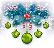 Illustration Christmas Traditional Decoration With Fir Branches, Glass Balls And Sweet Canes - Vector