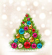 Illustration Christmas Tree And Colorful Balls On Light Background - Vector