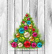 Illustration Christmas Tree And Colorful Balls On Wooden Background - Vector