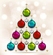 Illustration Christmas Tree Made Of Baubles, Glowing Background - Vector stock vector