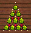Illustration Christmas Tree Made Of Baubles On Wooden Background - Vector