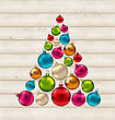Illustration Christmas Tree Made Of Colorful Balls On Wooden Background - Vector